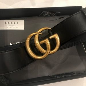 Authentic GUCCI Marmont Gold GG Leather Belt